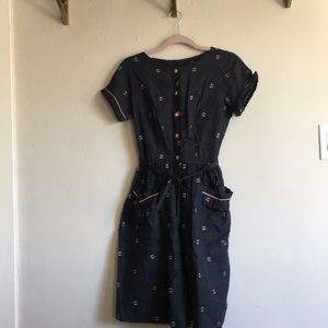 1950s plaid dress with pink piping and buttons